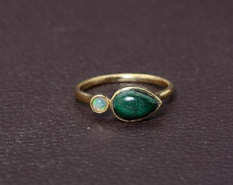 Malachite Brass Gemstone Ring,Brass Ring,Handmade Ring,Vintage Rings,Boho Rings,Gift For Her,Unique Ring,Mother Ring,Minimalist Ring