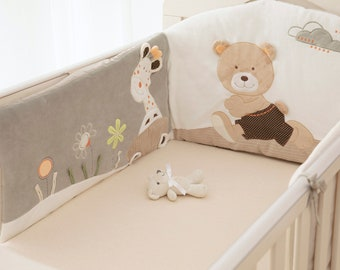 Pattern 23 5 Piece Bedding Set with Thick Bumper for 140x70 cm Baby Cot Bed
