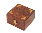 Wooden Jewellery Box for Women Jewel Organizer Square Carving with Brass Corner Handmade