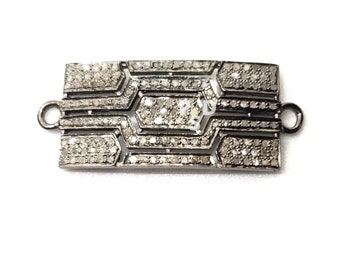 Designer Natural Pave Diamond Handmade 925 Sterling Silver Stylish Connector