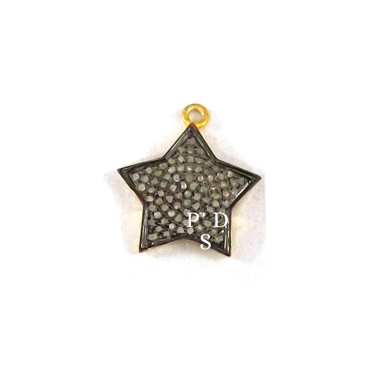 1 Pc Pave Diamond Star Pendant Handmade Pendant 17mm Pave Diamond Pendant Diamond Star Charm Pendant 925 Sterling Silver Star Pendant