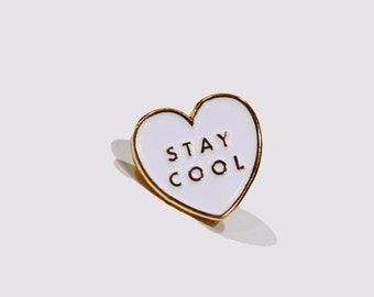 Heart Enamel Pin   Stay Cool   Soft Enamel   Conversation Heart   Art Pin   cute, minimalist, boho, women's, gift for her, gold, valentines