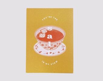 "You're the Salt in My Stew Postcard Print   4.5x6.25""   Valentine's Card   Art Deco   1920's Lyrics   Valentine Art Print   Mustard Yellow"
