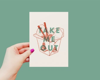 Take Me Out Print   Quote   8x10   5x7   Minimalist Home Decor   Art Print   Fun, Vibrant, Comfort Food, Chinese Food Takeout Box, Pun