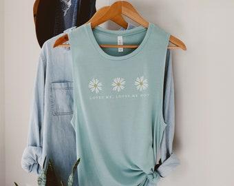 Daisy Flower Muscle Tank Top   Dusty Blue Ladies' Flower Shirt   Light Blue, Daisies, Flowers, Cute, Boho, Womens, Wildflowers, 90s