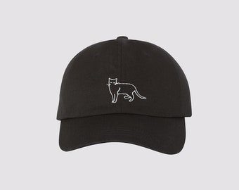 Cat Embroidered Dad Hat  Black Baseball Cap   Vintage, 90s, Cat Lady, Kitty, Summer, Trendy, Minimal Hat