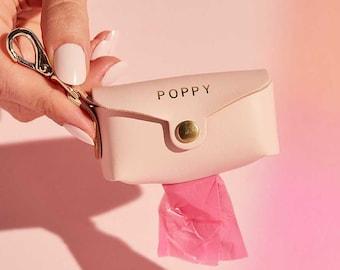 Personalised Leather Dog Poop Bag Holder | Dog Waste Bag Dispenser | Dog Walk Accessory | Personzalised Doggie Poo Bag Pouch | New Dog Gift
