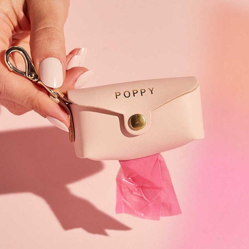Personalised Leather Dog Poop Bag Holder  Dog Waste Bag Blush Pink