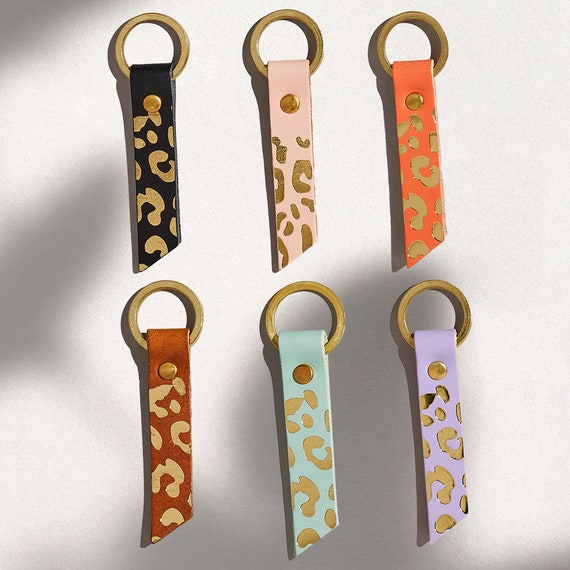Leopard Print Leather Keyring with Personalised Name or Initials  Birthday Christmas Stocking Filler Gift for Her  Animal Print Keychain