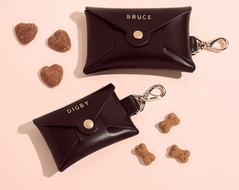 Personalised Leather Dog Treat Pouch | Dog Treat Carrier | Dog Walk Accessory | Personzalised Doggie Biscuit Pouch for Walks | New Dog Gift