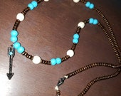 Turquoise Arrow Wooden Beaded Necklace a