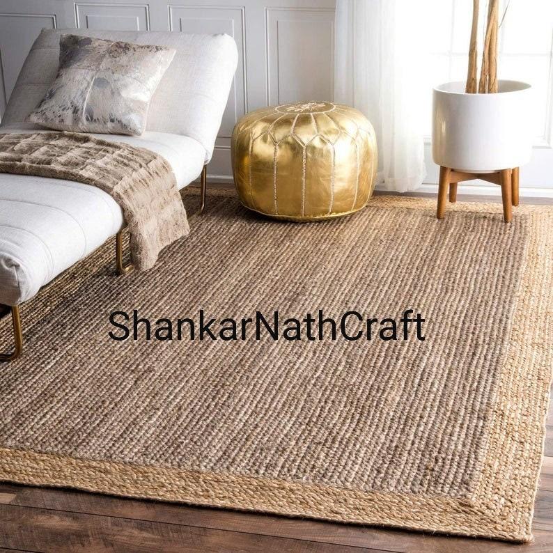 Jute Handwoven Rug Natural Rug Eco Rug Jute Rug Natural Jute Rug Indian Braided Floor Jute Rug Rectangle Rug Solid Area Rugs Carpet