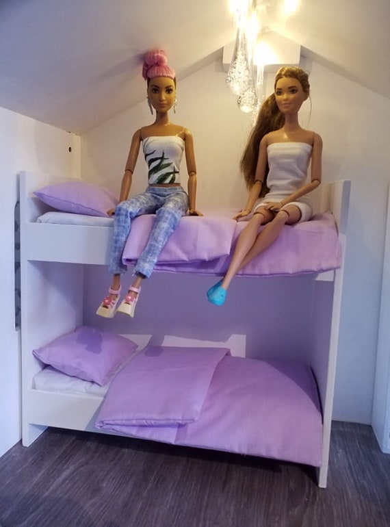 twin set for barbie dolls 1//6 scale  doll size  bedding set