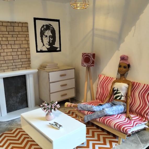 1//6 scale  doll size scandinavian IKEA design living room for barbie dolls