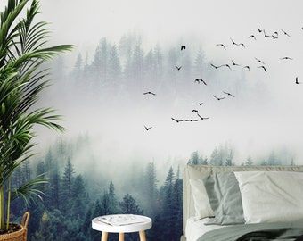 Green Forest Wallpaper - peel and stick, removable, Landscape Mural, Mountains, Wall Decoration, Wood, Nature, Forest Mural, Fresh Green