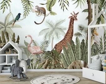 Safari Wallpaper with exotic animals, Peel and Stick, flamingo, giraffe, jungle, monkey, tropical, watercolor, leaves, nursery, kids