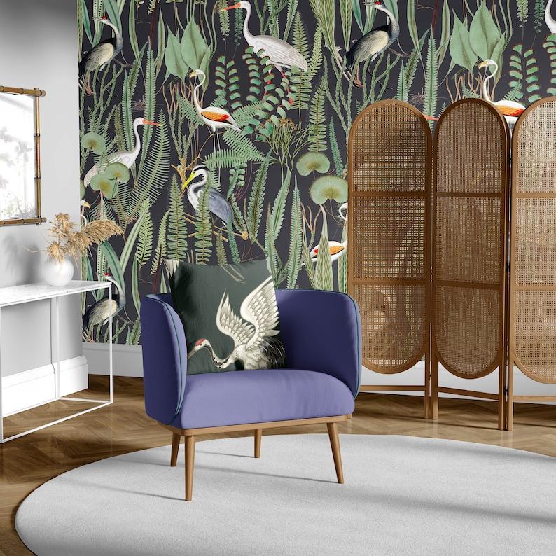 Crane Wallpaper  Dark Artsy Painted Plant  Bird Mural image 0