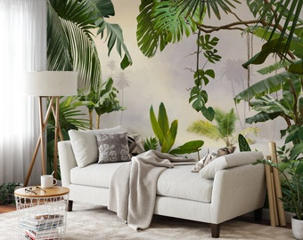 Rainforest tropical Wallpaper, Peel and Stick jungle flower and leaves mural with palm trees