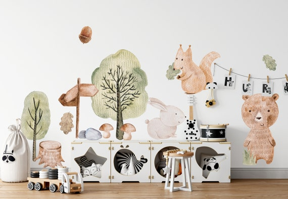 Big Animal Watercolor Wall Decal Set for kids removable cute