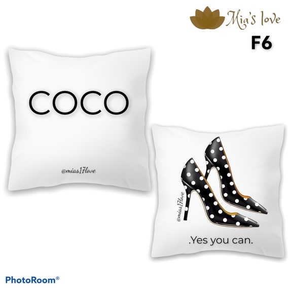 """Pillow white and black COCO channel fashion clip art decorated 16"""" 16"""" channel heel COCO perfume cushion and cover for living room"""