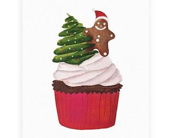 "Greeting card ""Sweet Holidays!"", Watercolor, Christmas Card, Gingerbread Cupcake, Christmas Tree, Illustration, Gift, Holiday"