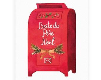 "Greeting card ""Boîte du Père Noël"", Watercolor, Santa Mailbox, Christmas Card, Illustration, Gift, Holiday"
