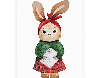 "Greeting card ""Joyeuses fêtes !"", Watercolor, Christmas Card, Cute Christmas Rabbit, Letter to Santa, Illustration, Gift, Holiday"