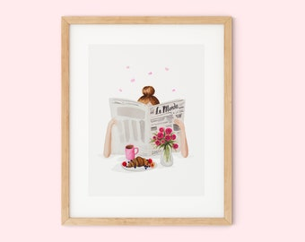 """French watercolor print poster """"Only good news"""" 