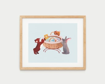 Newborn with Cute Animals | Watercolor Poster | Elegant Mural Art Print | Lovely Gift for mum