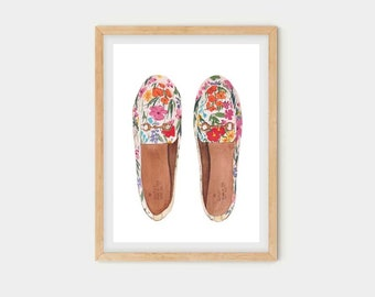 Fashion Shoes | Watercolor print poster | Elegant Mural Art home or office |  Print Gift for Her