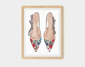 Fashion Heels | Watercolor print poster | Elegant Mural Art home or office | Print Gift for Her Inactive