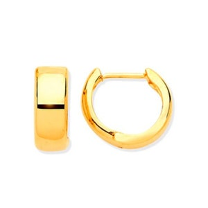 9CT HALLMARKED YELLOW GOLD MOONDUST INLAID 30MM OVAL HOOP EARRINGS