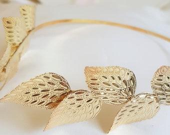 Gold Leaf Greek Goddess inspired wedding  Headband // Ancient Greek style headdress!