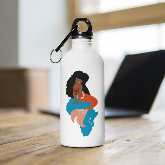 Melanin Mermaid Stainless Steel Water Bottle