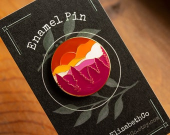 subtle lesbian flag enamel pin - mountain pin