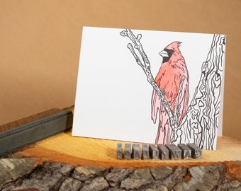 "Cardinal 4.25""x5.5"" blank hand watercolored letterpress note card"