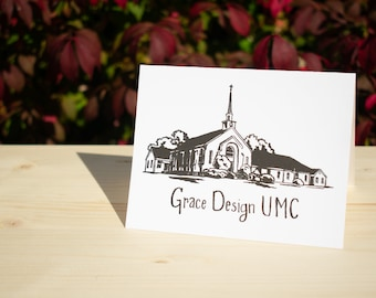 Custom (50+) Hand Sketched 4.25 x 5.5 inch Folded Letterpress Note Cards