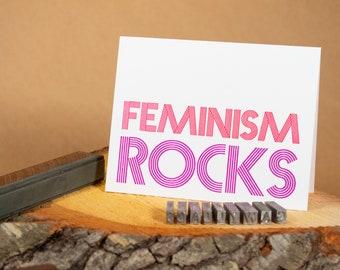 """Feminism Rocks 4.25""""x5.5"""" blank letterpress note card"""
