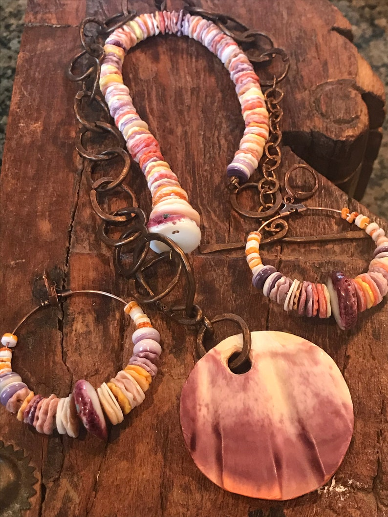 keishi bead necklace Beach inspired necklace set. spiny oyster shell necklace copper necklace Spiny oyster shell earrings