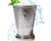 Mint Julep Cup - Solid Aluminum Nickel Plated 12 Oz Beautifully Beaded Trim Edging Mint Julep Cups Capacity for Drink Mix