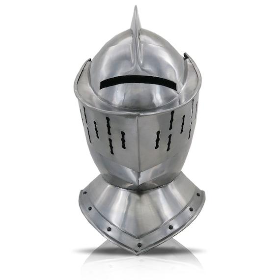 Close European Medieval Knight Armor Helmet, One S