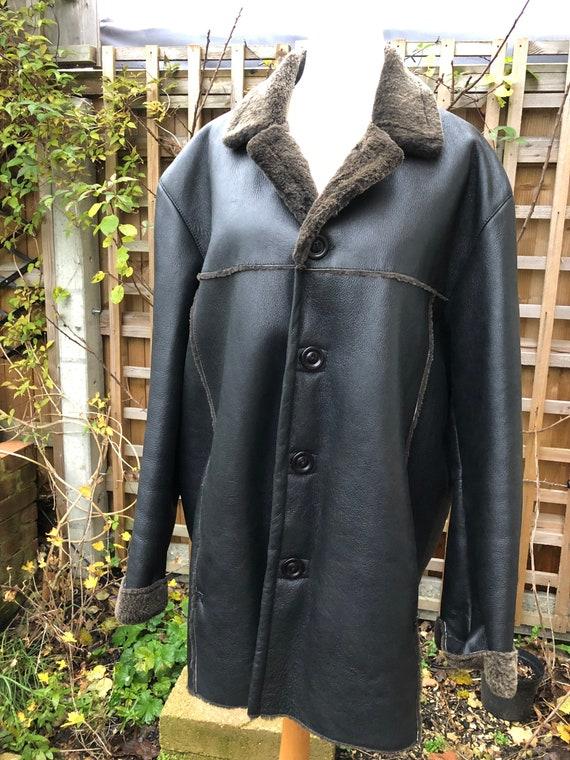 Vintage 90s Men shearling jacket lamb sheepskin ja