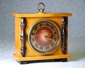 Vintage USSR Mechanical Clock Mayak, Wooden Case, Soviet Table Clock