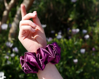 XL Luvy Satin Scrunchie   Purple Satin Scrunchy   Jumbo Scrunchies