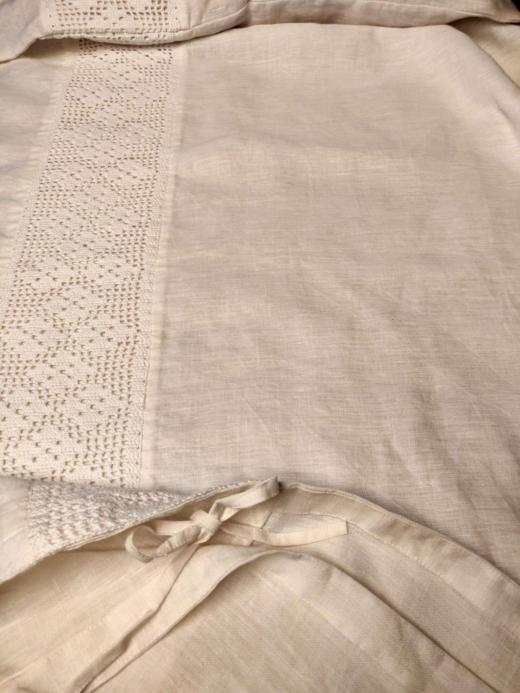 Ensemble de literie en lin adouci en dentelle de coton blanc, housse de couette d'oreiller en lin lavé à la pierre
