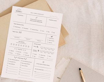 Self-Care Checklist - Digital Printable with Fill-in Charts