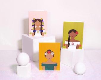 Latina Heritage Collection Greeting Cards - 3 Card Set (Honey or Espresso) - Florentina (Flower Crown), Rosalinda (Rose), Isabella (Ribbons)