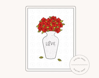 Fresh Cut Flowers – Red Roses Bouquet Illustration Printable with 3 sizes (DIGITAL DOWNLOAD)