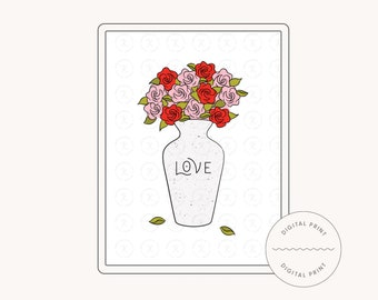 Fresh Cut Flowers – Pink and Red Roses Bouquet Illustration Printable with 3 sizes (DIGITAL DOWNLOAD)