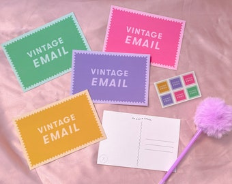 Vintage Email Collection - 90's Inspired Postcard Set with bonus Mini Stamp Stickers